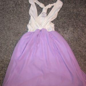 Purple and white sundress.